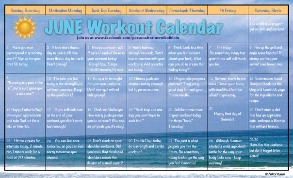 June Workout Calendar