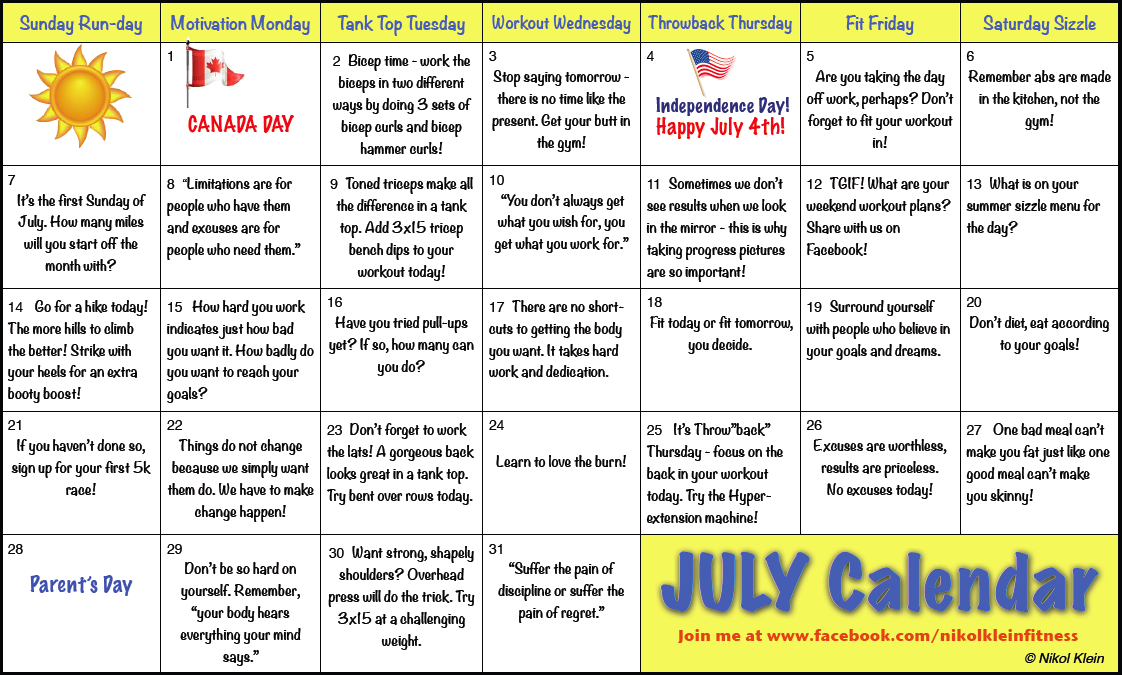 July Workout Calendar | Nikol Klein's Health & Fitness Tips