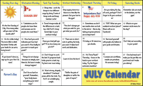 July Workout Calendar