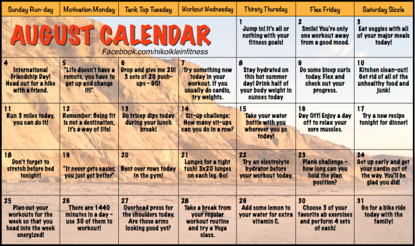 August Motivational Workout Calendar